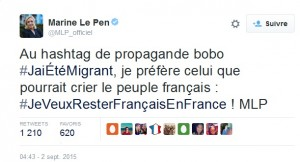 Tweet Marine Le Pen