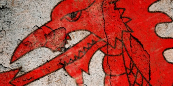 Detail of grunge Red Dragon flag of Wales with a black border.